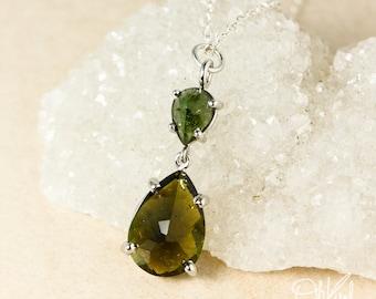 Silver Emerald Green Tourmaline & Olive Green Tourmaline Teardrop Necklace