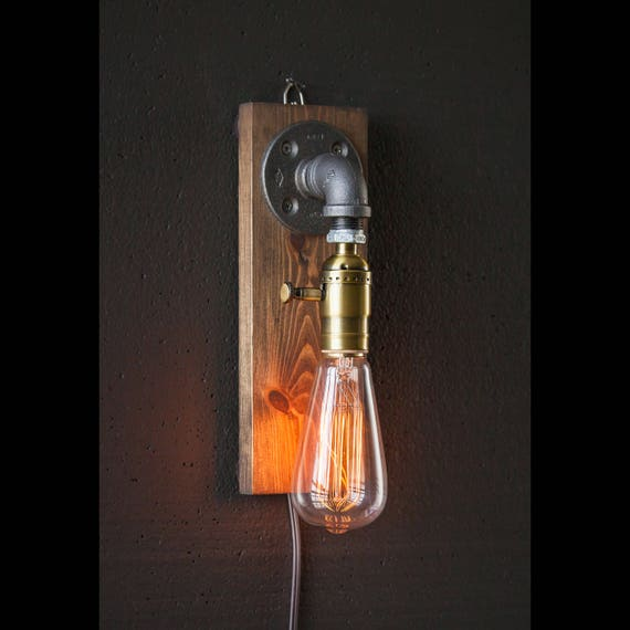 Plug in Wall Sconce Lamp-Rustic home decor-Sconce lamp-Industrial Lighting-Steampunk lamp-Housewarming Gift for men-Farmhouse Decor
