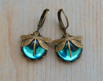 Lagoon Dragonflies . brass earrings victorian style vintage glass cabochon dragonfly turquoise aqua garden romance