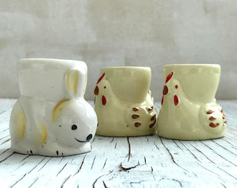 Vintage egg cup: a little bunny. Fun English novelty egg cups. Chicken pair sold, one bunny available.