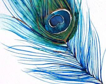 Watercolor Painting - Peacock Painting - Feather - Bird Wall Decor Watercolor - Large Print 24x30 - Poster