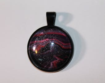 Hand Painted Glass Cabochon Black Setting