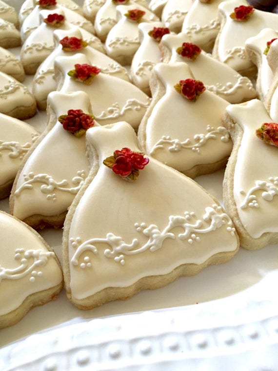 40 Petite Sized Ivory Wedding Dress Cookies with bouquet.