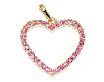 14K Solid Yellow Gold Love & Heart Pink Cubic Zirconia Charm Pendant 17mm
