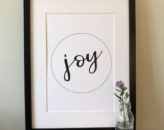 Monochrome Wall Print; A4 joy