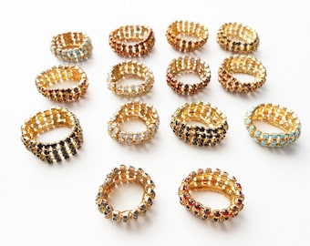 Lot of 14 vintage rhinestone rings, Old Store Stock, NOS