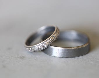 MOLLY: Wedding Rings, Set, Wedding Bands, Sterling Silver, Botanical, Modern, Minimalist, His and Hers, Rustic, Bohemian,  Made To Order