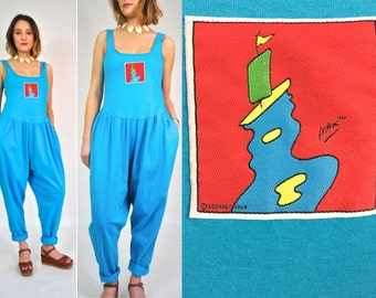 Rare 80s NEOMAX Jumpsuit Peter Max 1969 Cotton Turquoise Sleeveless Pants Romper Small Medium Large Pockets Vintage 80s 90s 60s Pop Art