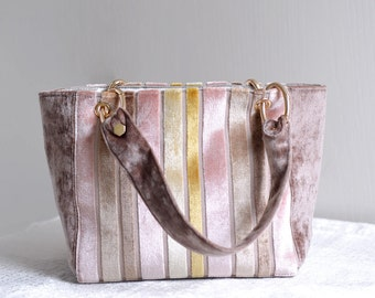 Velvet Swan classic top handle bag. winter season striped pattern fuzzy woman handbag. style 145. Ready to ship
