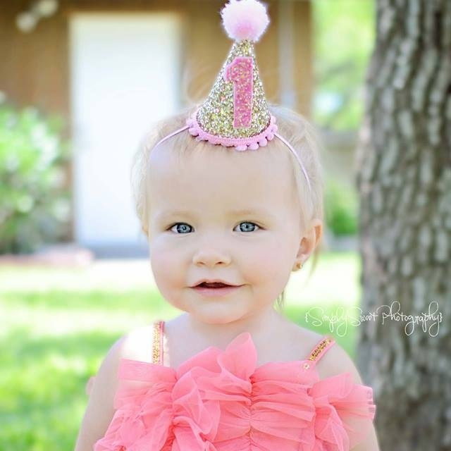 Mini Glittery 1st Birthday Girl Party Hat Girl Birthday