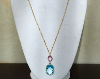 Blue Topaz and Pink Amethyst Necklace