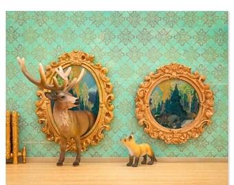 30% OFF SALE Deer and fox art surreal woodland animal art: Pop Art