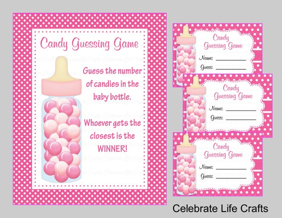 Amazing Baby Shower Printable Game Candy Jar Or Bottle Guessing Game