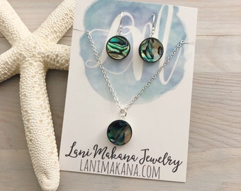 Abalone Jewelry Set - Beach Wedding Jewelry - Paua Shell Jewelry - Abalone Shell - Beach Jewelry - Ocean Jewelry - Sterling Silver Jewelry