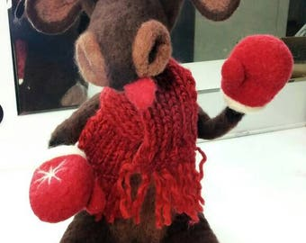 Moose, hand felted, natural sheep wool. Made in love. by ARTrollCo