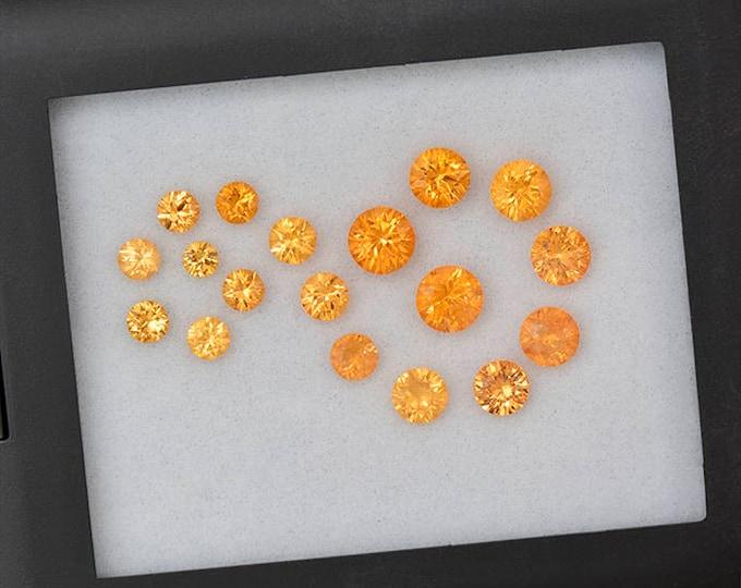 Bright Orange Spessartine Garnet Set of Gemstones from Nigeria 8.35 tcw.