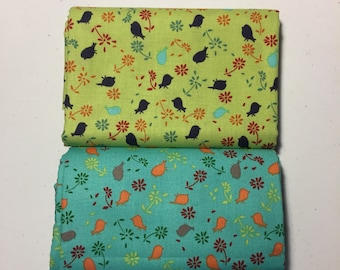 1-yard cuts Bridgette Lane by Valori Wells for Free Spirit Posies fabric in Pumpkin (turquoise bsckground) or Blueberry (lime background)