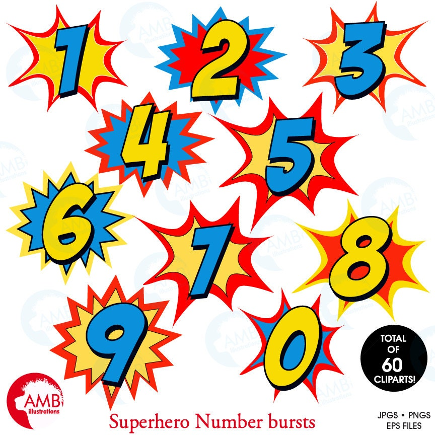 Calendar Numbers Clipart : Superhero numbers clipart