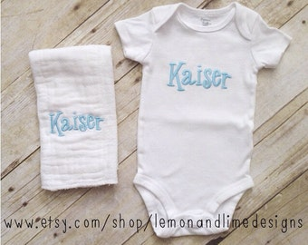 Embroidered Monogrammed Baby Onesie and Burp Cloth Gift Set