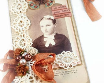Vintage Style Gift Tag,  Shabby Vintage Tag, Luggage Tag, Art Tag, Mixed Media Tag, Vintage Style Art Tag, Old Photograph Hang Tag
