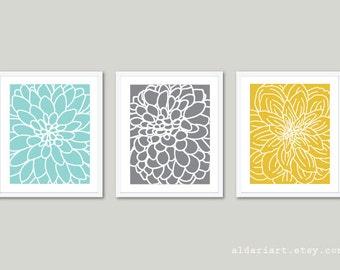 Modern Flowers Art Prints - Abstract Flower Wall Art - Dahlia Art Print - Set of 3 Prints - Floral Wall Art - Home Decor - Blue Grey Yellow