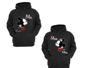 Hoodies for Women Mrs. Minnie Mouse Mate Part Couple Match , Men Mr. Mickey Mouse Soul Part Couple Match Cotton Pullover Sweatshirt