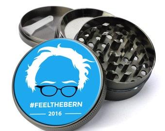 Feel The Bern #4 Bernie Sanders 2016 Extra Large 5 Piece Spice Tobacco Herb Grinder with Pollen/Keef Catcher Best Metal Weed Grinders
