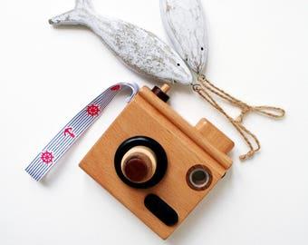 Wooden Toy camera-Wooden handmade camera-Navy ribbon wooden camera