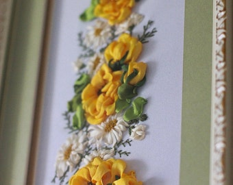 "Picture embroidered with silk ribbons ""Rosses & chamomile"", картина, вышитая шёлковыми лентами"