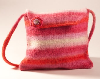 Knitted felted pink striped purse.