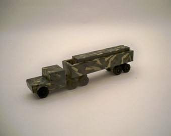 Toy Green Camo. Tractor Trailer With Cago A Wood Toy  A Kids Toy A Wood Tractor Trailer
