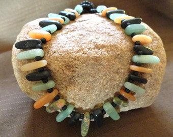 Multi Color Matt Stone Stick Necklace