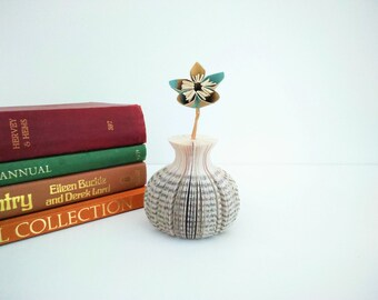 Mini Paper Bud Vase with Coloured Paper Flower Book Art - Mother's Day Gift idea - Origami flower