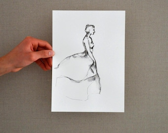 Original female drawing, female art drawing, dancer drawing, gift for her, for dancer, drawings, ink drawing, ink art, ballerina ink drawing