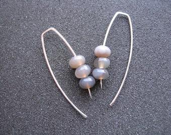 grey agate earrings. sterling silver jewelry. agate jewellery.