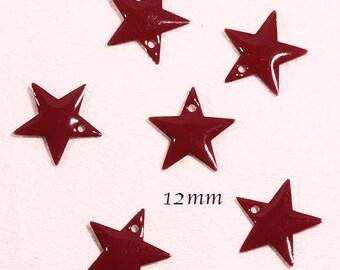 6 sequins star enamelled brass red 12mm