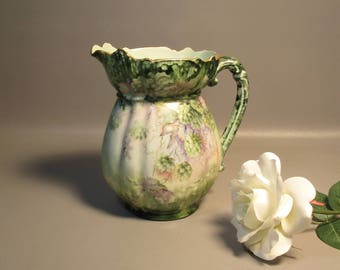 c1890 Large Pitcher w/Hand Painted Hops Blossoms Rosenthal Limoges Style