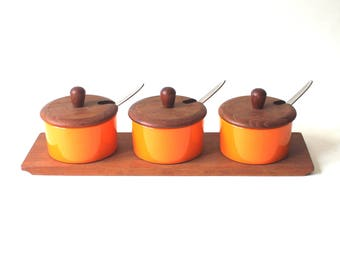 Vintage Danish Luthje Condiment set with Stainless Spoons on Wood Base