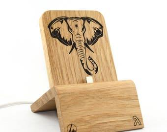 Dockingstation (Edition Elefant) für iPhones und Android (mit und ohne Schutzhülle)