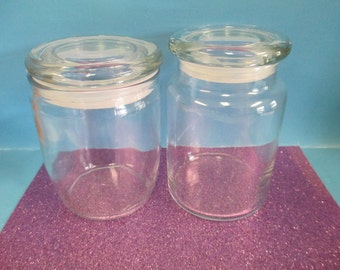 Candle supply set of 2 empty candle  Glass Jars for container candles  with plastic seal lids