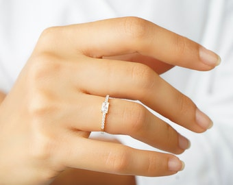 Baguette ring - Cz ring - Engagement ring - Cz gold ring - Dainty ring - Minimalist ring - Minimal jewelry - Tiny ring - Dainty jewelry