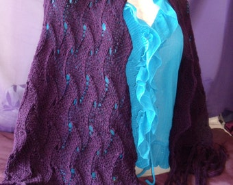 Stunning Deep Purple Shawl with Fringe