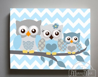 Owl Decor Boys wall art - Owl canvas art - Owl Nursery - Owl Childrens Art - Childrens Room -Nursery wall art