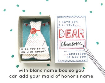 VERKOOP - The Maid of Honor box - wil je mijn Maid of Honor? -met feestelijke jurk illustratie