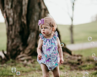 Unicorn Romper, Unicorn Outfit, Baby Girl Romper, Rainbow Romper, Summer Romper, Bubble Romper, Toddler Romper, Cute Romper