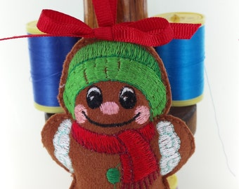 Cute Gingerbread Man Handmade with Wooly Hat and Scarf Decoration with embroidered button detail Celebrations Crafted From Soft Suede