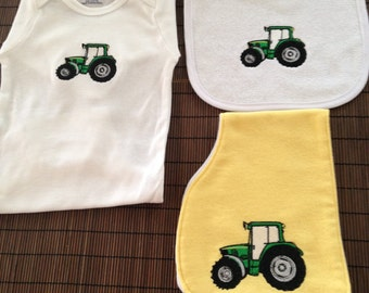 Embroidered Boys Tractor Gift Set, Embroidered Tractor on Onesie, Burp Cloth and Bib, Baby Shower Gift