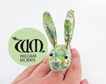 MADE-TO-ORDER ( 1 - 2 Weeks) Bunny Ring- Liberty William Morris Art Nouveau Green