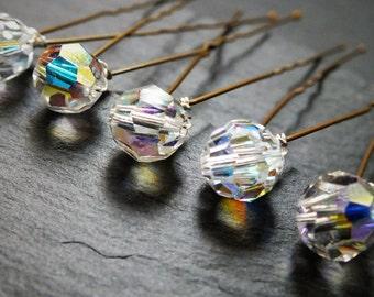 Crystal hairpin, Set of 5 swarovski crystal hair pin,,wedding hair, bridal hair accessory, brides bridesmaid prom