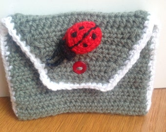 Ladybird crocheted purse